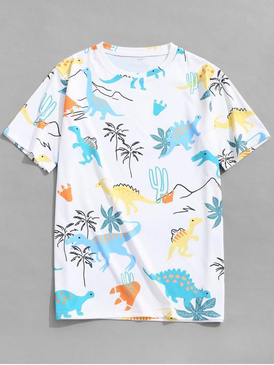 trendy Short Sleeves Dinosaur Plant Print T-shirt - WHITE M
