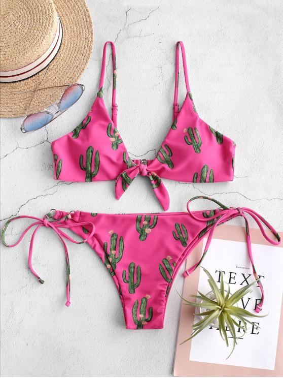 lady ZAFUL Cactus Tied String Bikini Set - NEON PINK L