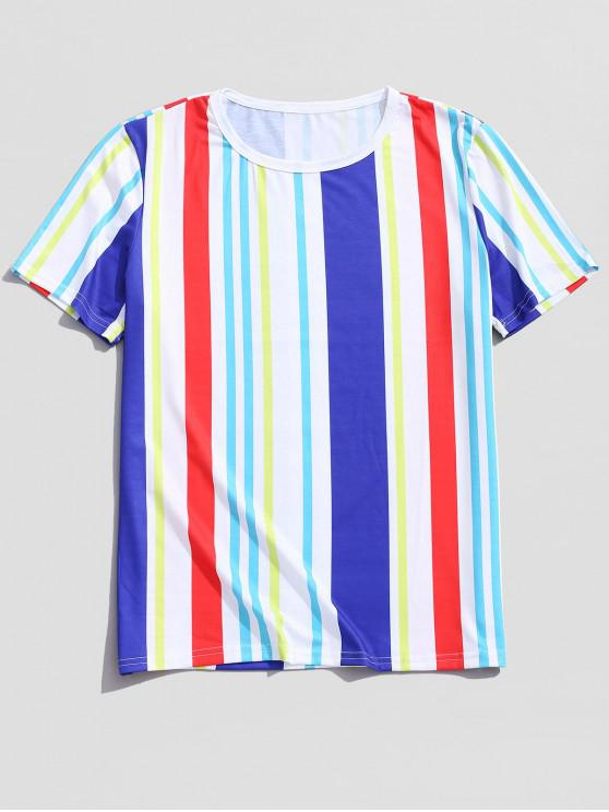 fashion Vertical Striped Print Casual Tee - MULTI XL