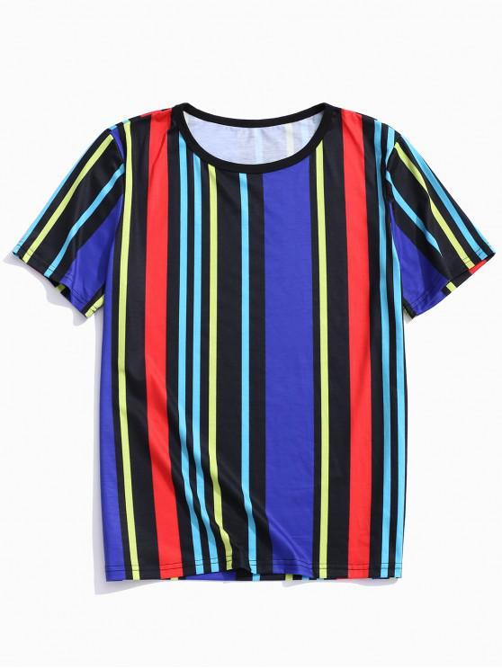 fashion Vertical Striped Print Casual Tee - MULTI-A 3XL