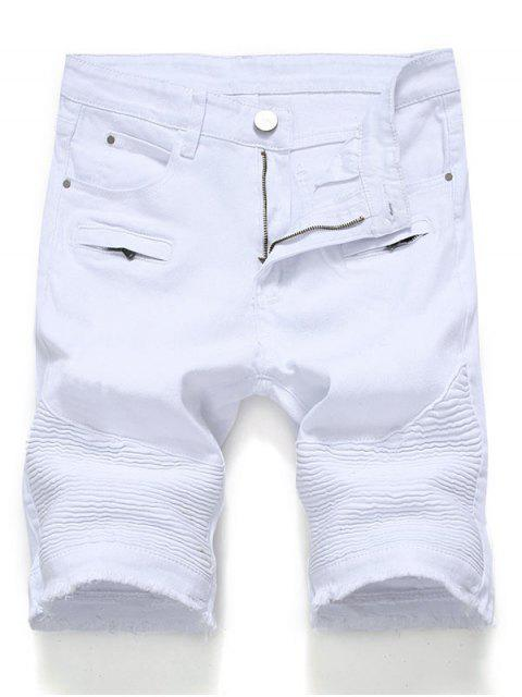 womens Solid Color Pleated Zipper Fly Jean Shorts - WHITE 40 Mobile