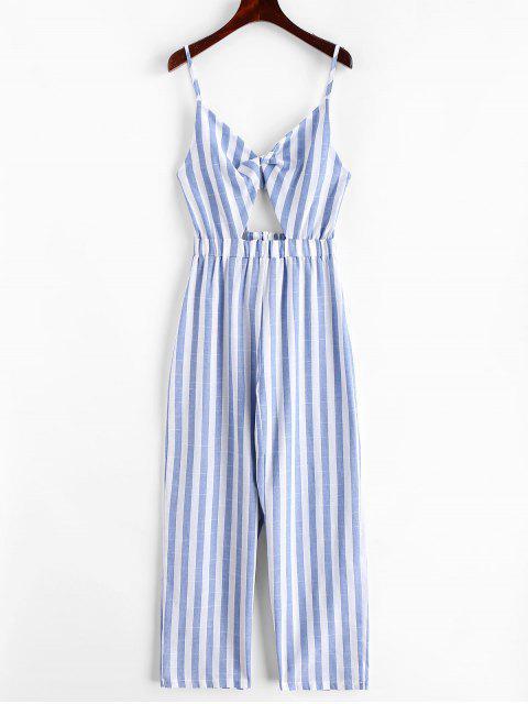 shops Stripes Twist Cut Out Wide Leg Jumpsuit - MULTI-A S Mobile