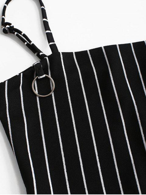 unique Striped Crop Top and Zip Front Skirt Set - BLACK S Mobile