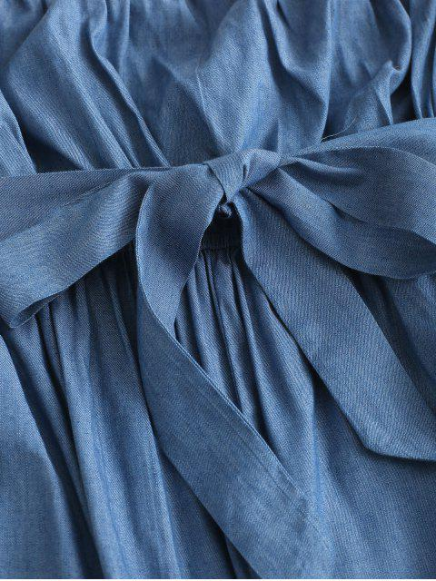 hot ZAFUL Chambray Pocket Bandeau Jumpsuit - DENIM BLUE S Mobile