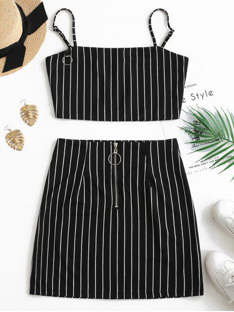 trendy Striped Crop Top and Zip Front Skirt Set - BLACK L Mobile