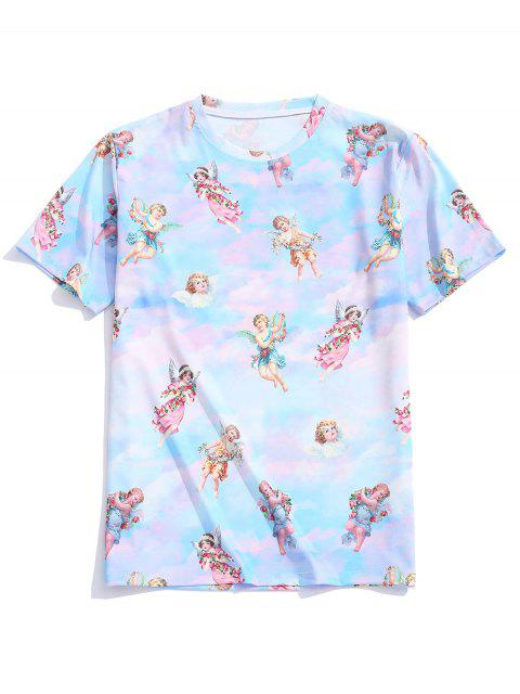 fancy Angel Print Casual T-shirt - MULTI 2XL Mobile