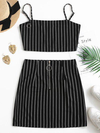 Striped Crop Top And Zip Front Skirt Set - Black L
