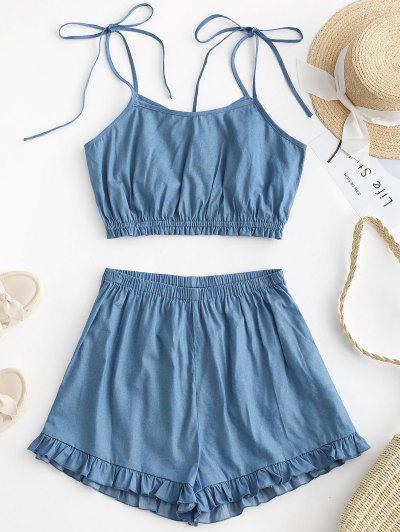 ZAFUL Chambray Tie Ombro Ruffle Shorts Set - Azul Denim L