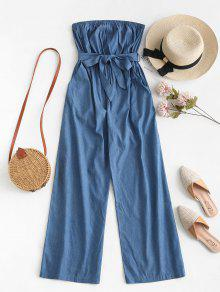 ZAFUL Chambray Pocket Bandeau Jumpsuit - ازرق S