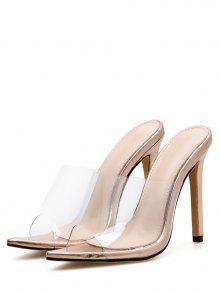 497e74d18a9 Transparent PVC Stiletto Heel Slides GOLD