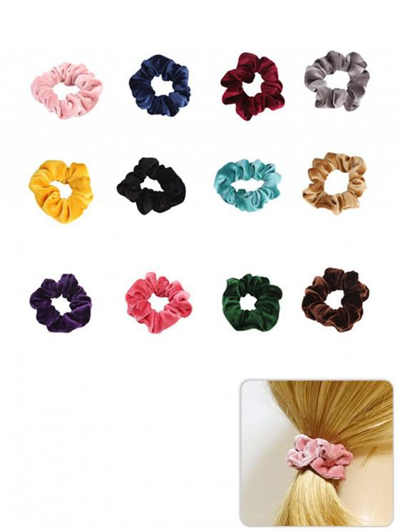 latest 12Pcs Elastic Fleece Scrunchies Set - MULTI-A