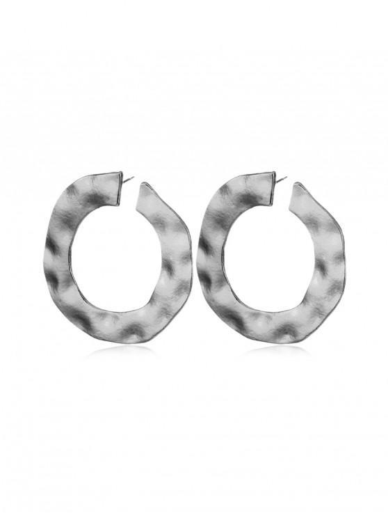 latest Irregular Cuff Circle Earrings - SILVER