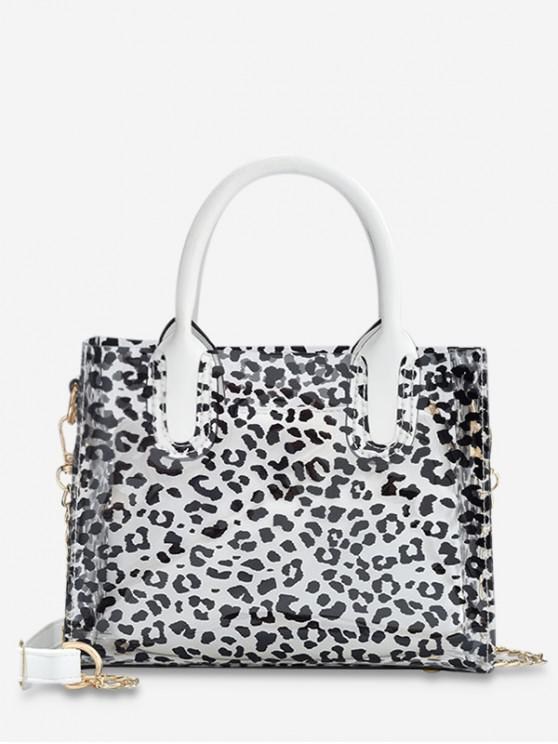 hot Transparent Beach Style Leopard Pattern Chain Bag Set - WHITE
