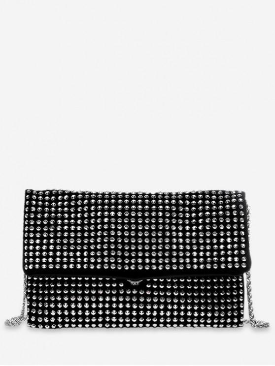 unique Rivet Flap Chain Crossbody Bag - BLACK