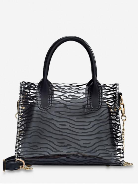 lady Transparent Beach Style Leopard Pattern Chain Bag Set - NATURAL BLACK