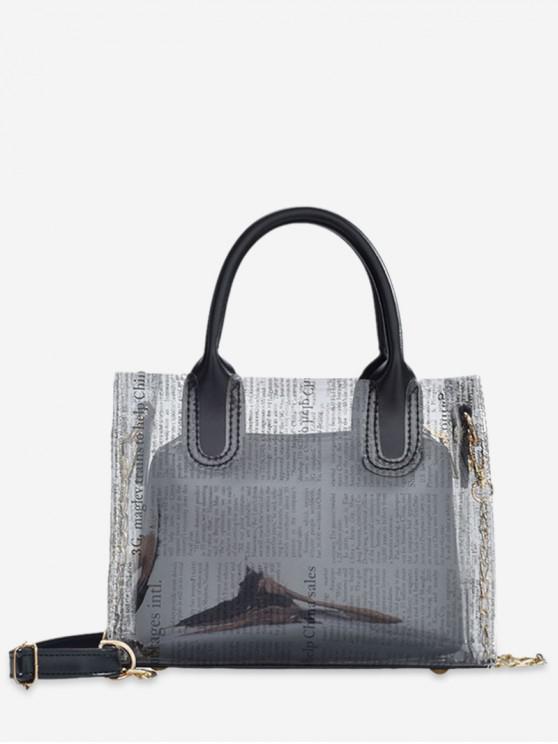 best Transparent Newspaper Pattern Stylish Shoulder Bag - BLACK