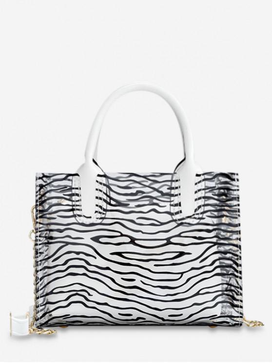 chic Transparent Beach Style Leopard Pattern Chain Bag Set - MILK WHITE