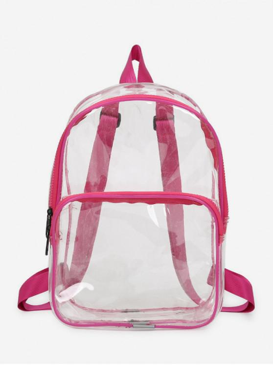 fancy Plastic Transparent College Backpack - ROSE RED