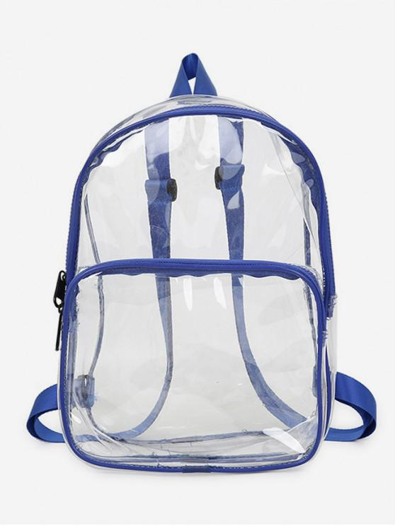 women's Plastic Transparent College Backpack - BLUEBERRY BLUE