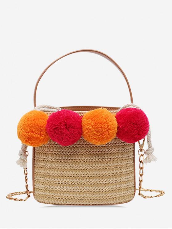 ladies Fuzzy Ball Straw Bucket Bag - LIGHT KHAKI