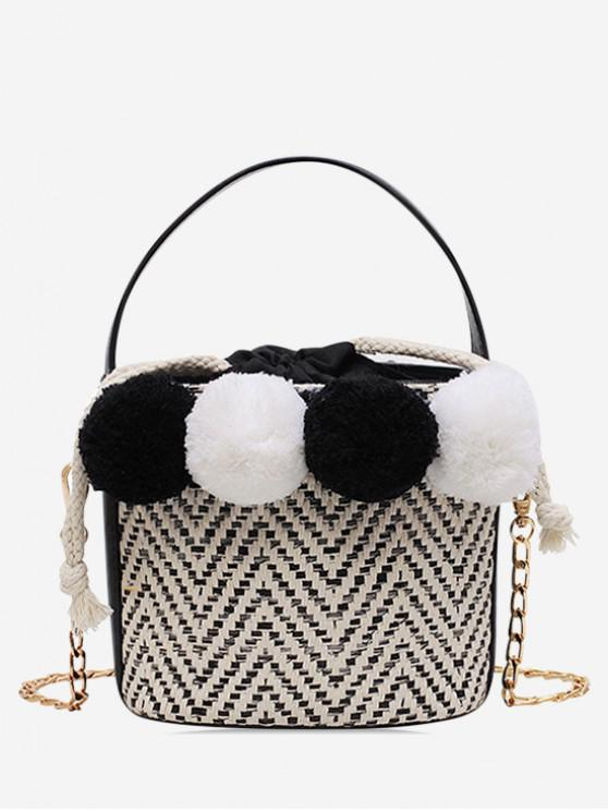 trendy Fuzzy Ball Straw Bucket Bag - BLACK