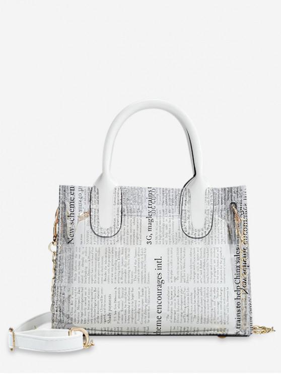 women Transparent Newspaper Pattern Stylish Shoulder Bag - WHITE