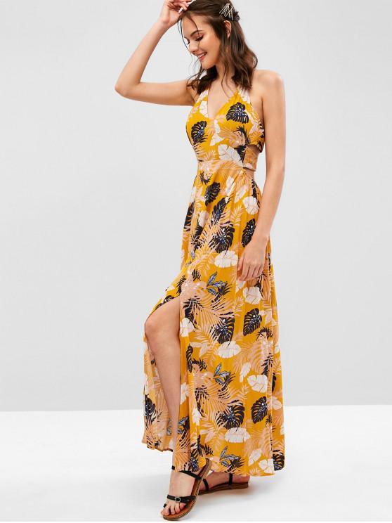latest ZAFUL Leaves Print Slits Halter Maxi Dress - BEE YELLOW M