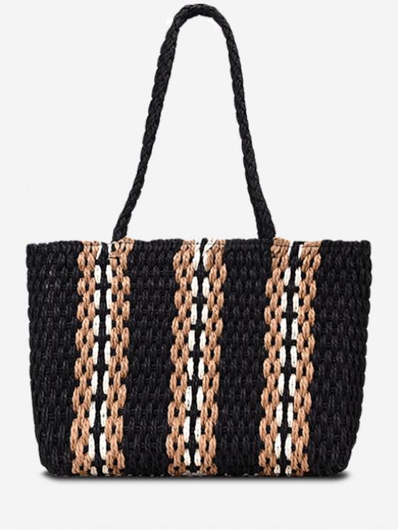 sale Striped Straw Shoulder Bag - BLACK