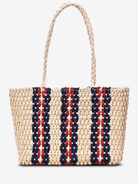 womens Striped Straw Shoulder Bag - BEIGE