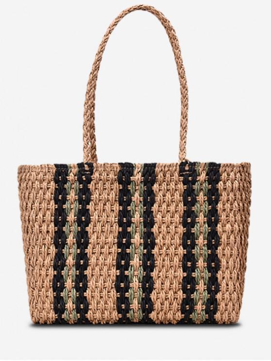 online Striped Straw Shoulder Bag - LIGHT KHAKI