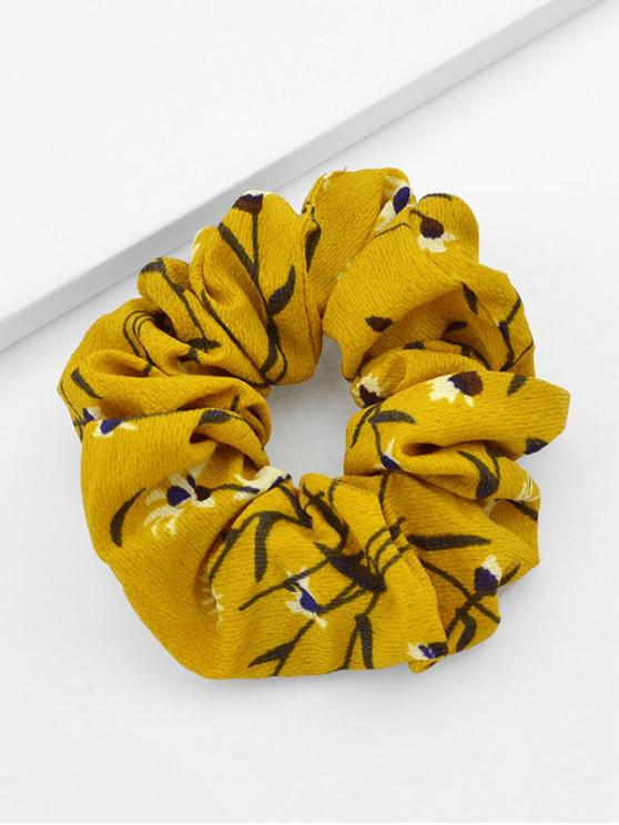 outfits Chiffon Floral Print Hair Scrunchies - BEE YELLOW