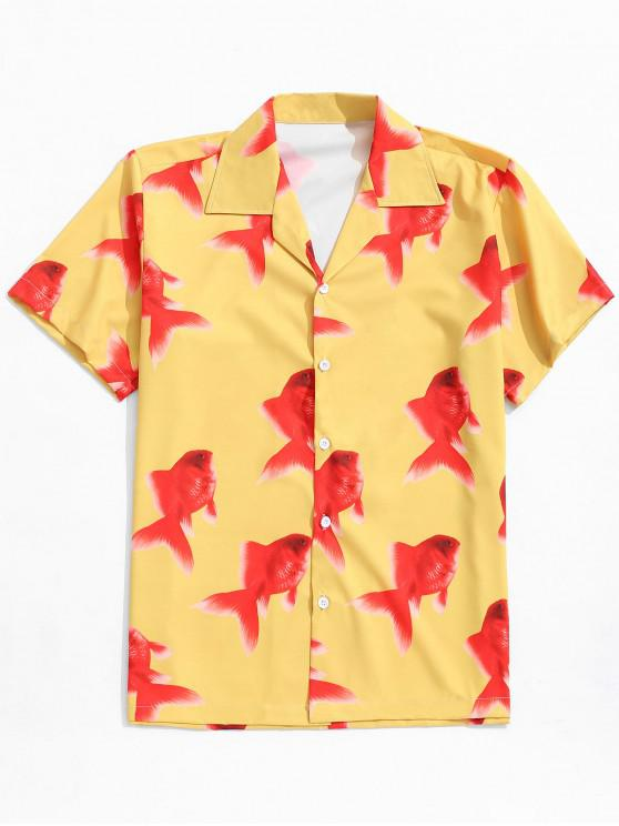 fashion Koi Fish Print Button Shirt - CORN YELLOW L