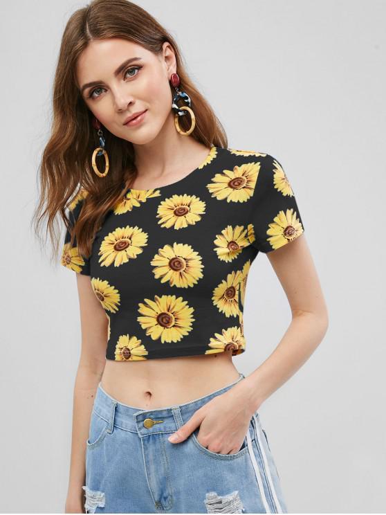 unique Round Neck Sunflower Print Crop Tee - BLACK L