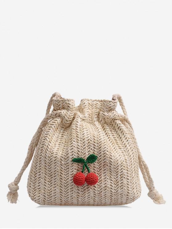 women Cherry Crossbody Drawstring Straw Bag - BEIGE