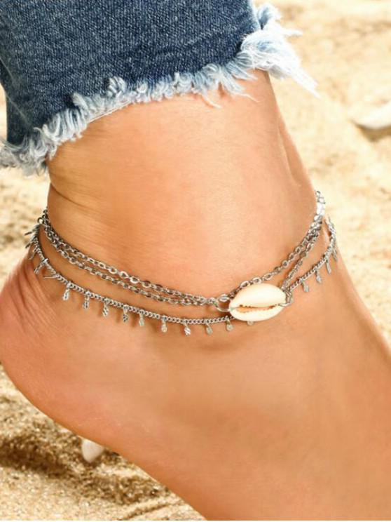 womens Two-piece Shell Chain Anklet - SILVER