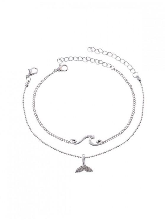 lady Two-piece Fishtail Chain Anklet - SILVER