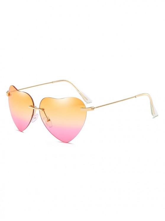 shops Novelty Heart Shape Design Sunglasses - SANDY BROWN