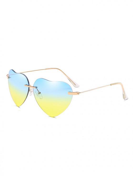 latest Novelty Heart Shape Design Sunglasses - OCEAN BLUE