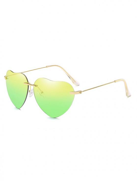 fancy Novelty Heart Shape Design Sunglasses - YELLOW GREEN