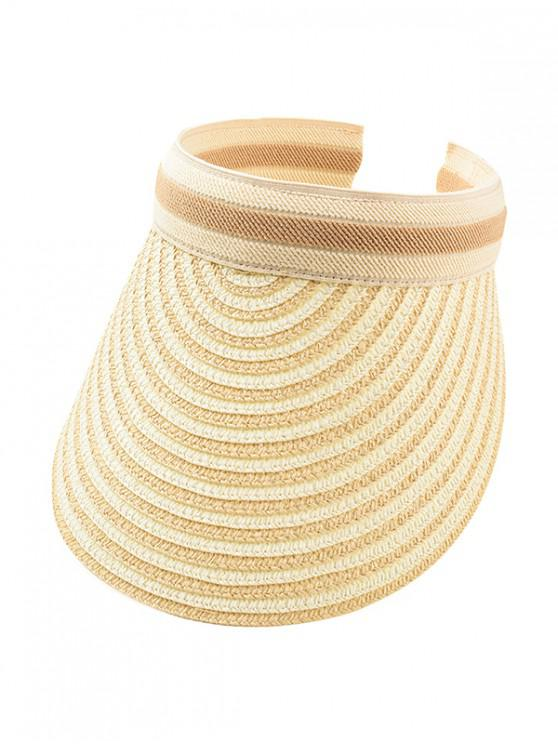 sale Striped Empty Top Straw Hat - BEIGE