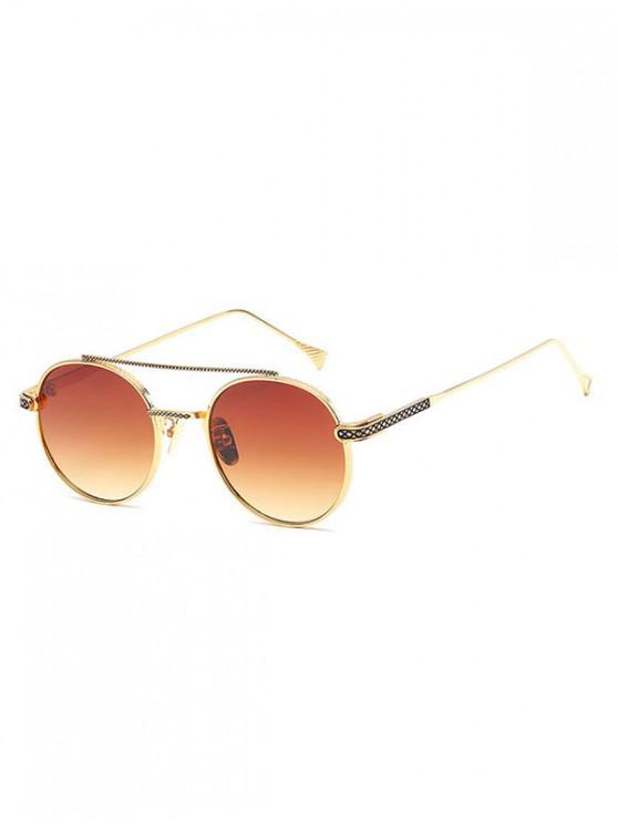 women Geometric Round Anti UV400 Sunglasses - SANDY BROWN