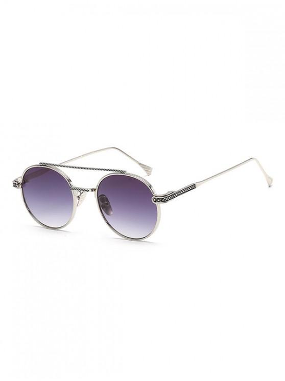 ladies Geometric Round Anti UV400 Sunglasses - PLATINUM