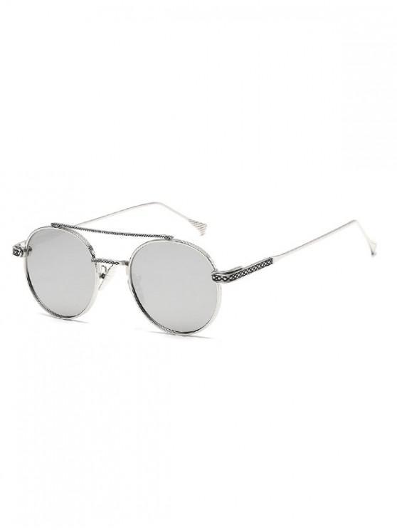 lady Geometric Round Anti UV400 Sunglasses - SILVER