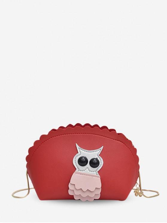 ladies Owl Wavy Shell Crossbody Bag - ROSSO RED