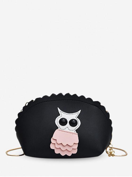 online Owl Wavy Shell Crossbody Bag - BLACK