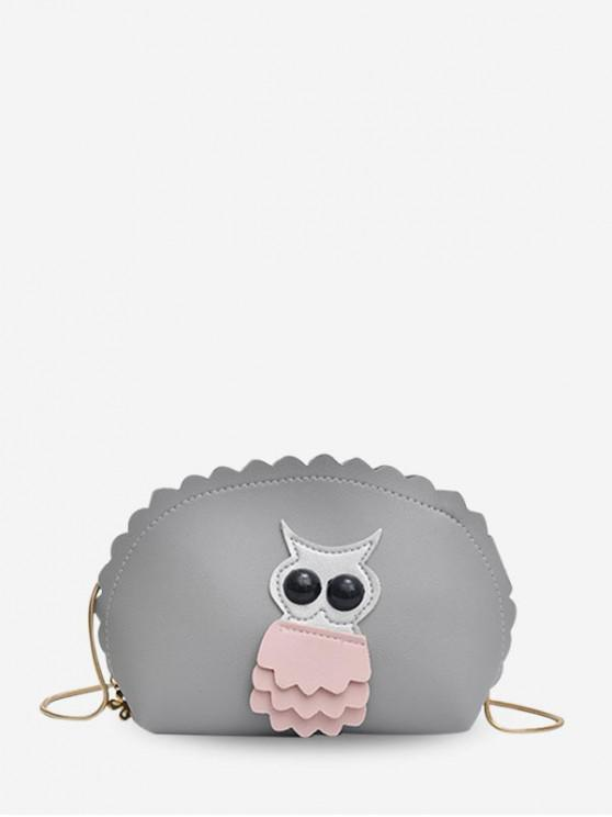 affordable Owl Wavy Shell Crossbody Bag - GRAY CLOUD