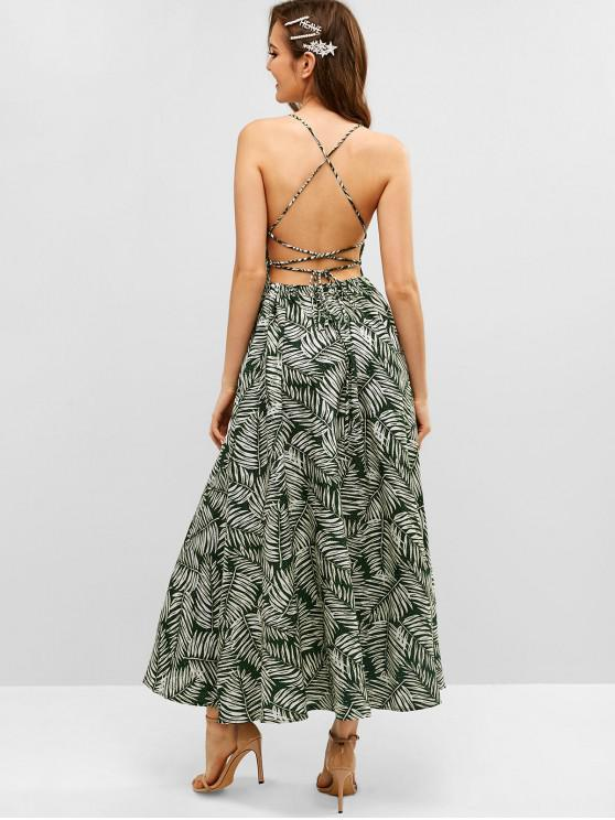 online Lace Up Criss Cross Leaves Print Dress - GREEN S