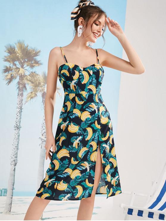 best ZAFUL Banana Print Slit Cami Dress - MULTI-L L