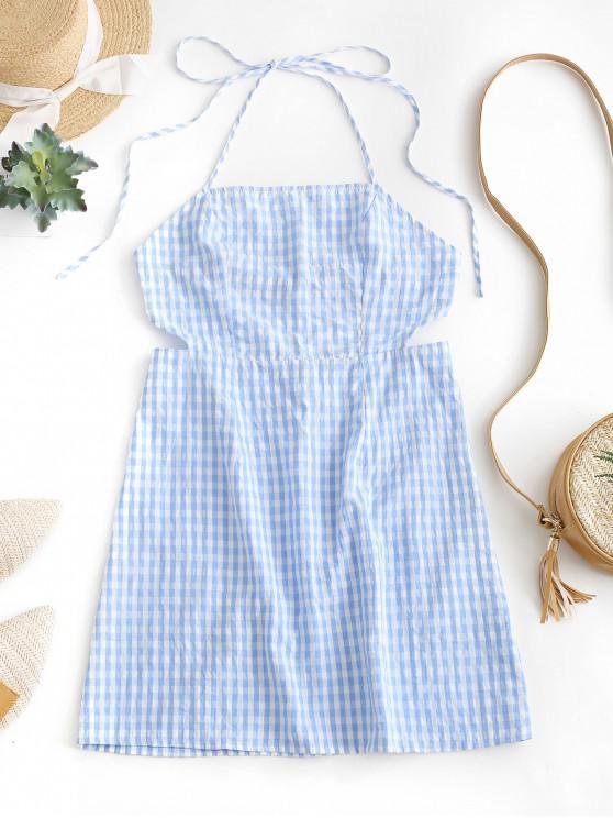 outfit ZAFUL Halter Open Back Plaid Mini Dress - MULTI L