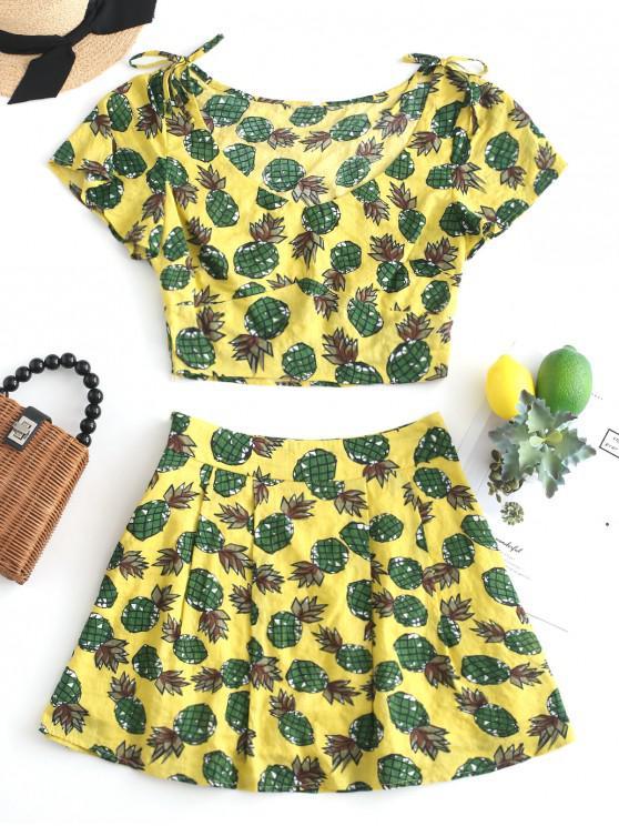 womens ZAFUL Pineapple Bowknot Scooped Skirt Set - GOLDENROD L
